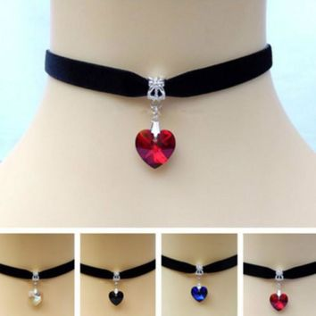 Heart Crystal Victorian Choker Necklace Goth Vintage Gothic Velvet Chokers Multi Color Pendant Chocker