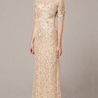 Mid Sleeve Sequin Mesh Gown