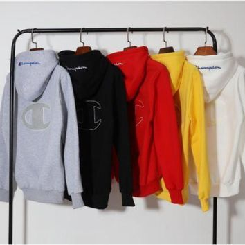 Champion Autumn And Winter Back Big Logo Plus Cashmere Hooded Sweater