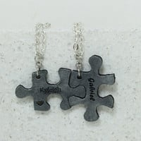 Puzzle Pieces Leather Personalized Necklaces  Set of 2
