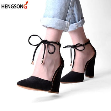 2107 New  Lace Up High Heels Women's Sandals Summer Shoes Woman Ladies Pumps Sexy Thin Air Heels Footwear Woman Shoes