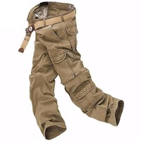 casual cotton cargo pants combat camouflage Bottoms pockets trousers