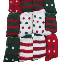 Fuzzy Socks, Christmas Socks, 6 Pair, Size: 9-11