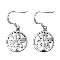 Sterling Silver Round Maple Tree Cut Out Earrings