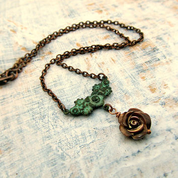 Valentine necklace flower necklace brown rose necklace Patina jewelry Nature jewelry