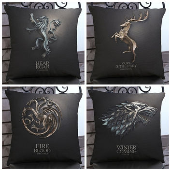 Family Badge GAME OF THRONES Sofa Chair Cushion Living Room Decoration Black Color Euphoria Vintage Home Decorative Throw pillow