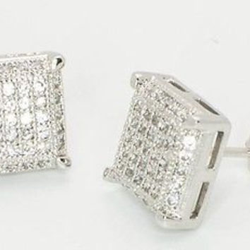 Mens Sterling Silver Earrings Clear Cubic Zirconia 3d Micropave 10mm
