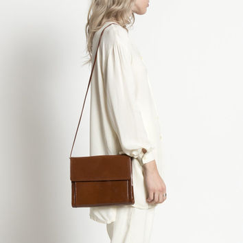 Vintage 70s Warm Brown Minimal Patent Leather Purse with Removable Strap