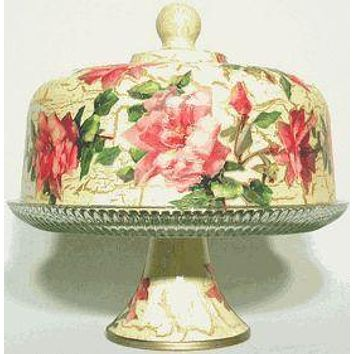 Pink Rose Glass Domed Pedestal Cake Stand