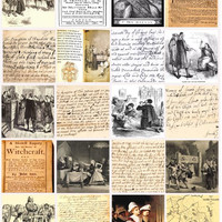 Salem Witch craft Trial documents artwork 1692 witchcraft  2 inch SQUARES collage sheet
