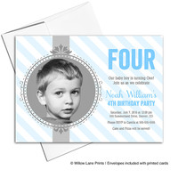 boys birthday invites | kids birthday party invitations with photo | blue and gray stripes | 1st, 2nd, 3rd, 4th, 5th birthday - WLP00307