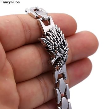 Game of Thrones Stark Wolf Head Bracelet &Bangle Silver color Fashion Jewelry Link Chain Hot Movie Charm Wristband