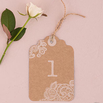 Kraft and Lace Table Number Tags (Set of 12)