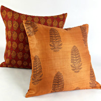 Block Print Fall Pillow, Rust Silk Pillow, Burnt Orange Pillow, Reversible Red Pillow, Paisley Bohemian Pillow, Thanksgiving Gift,