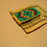 "Native American Style loom beaded ""Mitakuye Oyasin"" Money Clip in Turquoise Green"