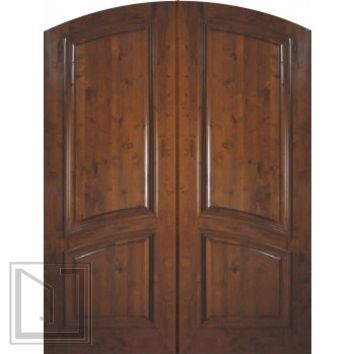 Slab Entry Double Door 96 Wood Knotty Alder 2 Panel Arch Top Solid