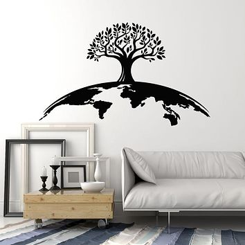 Vinyl Wall Decal Tree Planet Earth World Ecology Greens Nature Stickers Mural (g1199)