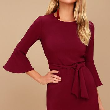 Last Love Song Burgundy Tie-Waist Dress