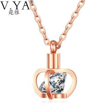 Imperial Crown Pendant Necklace 42CM Link Chain Stainless Steel Necklace for Women Jewelry Silver Rose Gold Color White Crystal