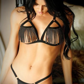 Fantasy Lingerie Vixen Fringe Benefits Cutout Bra Set