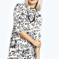 Abi Graffiti Slogan Shirt Dress
