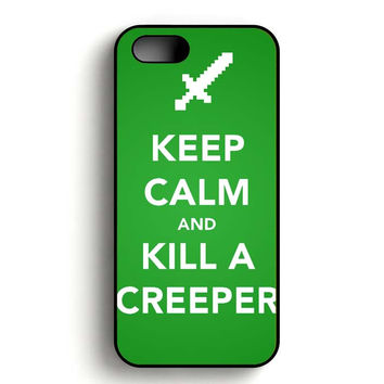 Minecraft Creeper Keep Calm iPhone 5, iPhone 5s and iPhone 5S Gold case