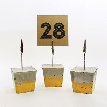 Photo Holders, Gold Place Card Holder, Cement Photo Holder, Table Number Holder, Modern Table Number Stand, Table Number Signs - Set of 3