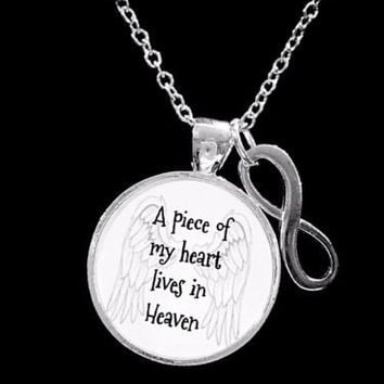 A Piece Of My Heart Lives In Heaven Guardian Angel Infinity Memory Necklace