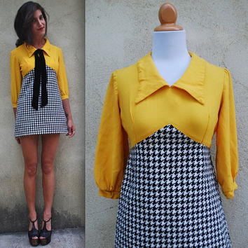 Vintage 60s 70s Call a Cab Yellow and Houndstooth Micro Mini Dress (size xs, small)
