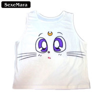Pokemon Go Moon Cat Face Pattern Print  Women Crop Top Summer Women Tanks Fashion Camis White Clothing Neck Casual Vest Top F656