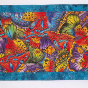 Reversible Table Runner - Butterflies - Jewel Tones and Turquoise