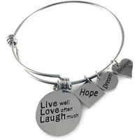 Expandable Bangle Live Well Love Often Laugh Much