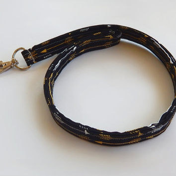 Arrow Lanyard / Black & Gold / Boho Keychain / Bohemian / Shimmering Gold / Key Lanyard / Tribal / ID Badge Holder / Fabric Lanyard
