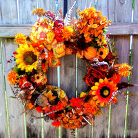 Front Door Wreath ,Fall Wreath, Autumn Wreath, Sunflowers Gourds Feathers Berries Pinecones
