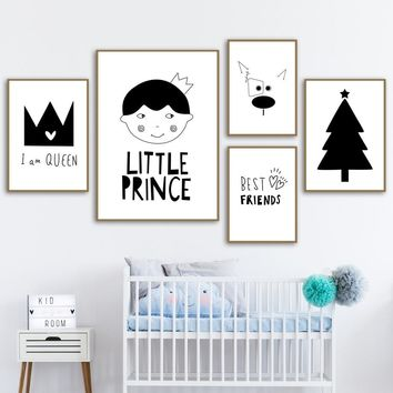 Prince Girl Dog Christmas Tree Nordic Posters And Prints Wall Art Canvas Painting Black White Cartoon Wall Pictures Kids Room