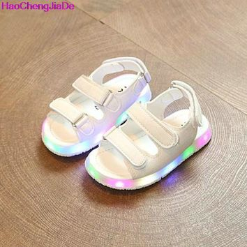 HaoChengJiaDe Kids Sandals With Light Summer Children's LED Light Shoes Boys Beach Sandals Girls Soft Bottom Baby Boys Sandals A