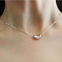 Womens Sterling Silver Love Pea Pendant Necklace Gift-85