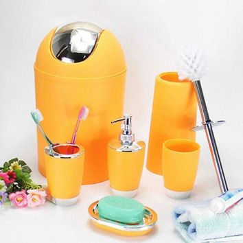 ICIK272 6 Pcs Bathroom Accessory Bin Soap Dish Dispenser Tumbler Toothbrush Holder Set