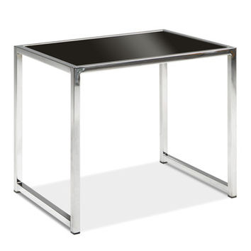 Office Star Avenue Six Yield End Table in Chrome/Black Glass
