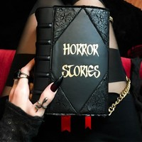 HORROR STORIES VEGAN LEATHER BOOK CLUTCH LACE