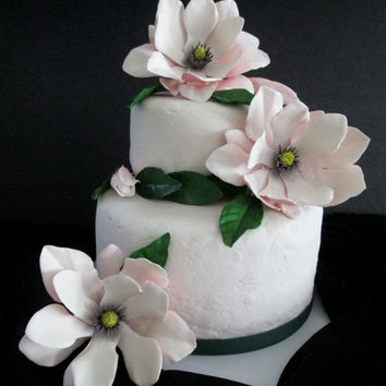 Magnolia cake topper edible sugar gum paste pink wedding bridal