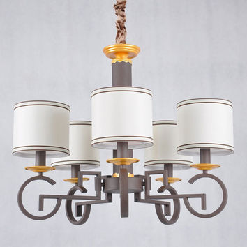 Modern Lamp Chandeliers Suppliers Stair Living Room Light Black Iron White Fabric Lampshade E14 110-240V