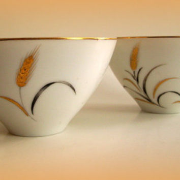 Mid Century Modern Vintage Eternal Harvest China Cups from Correct Table Service 1960's Set of 3