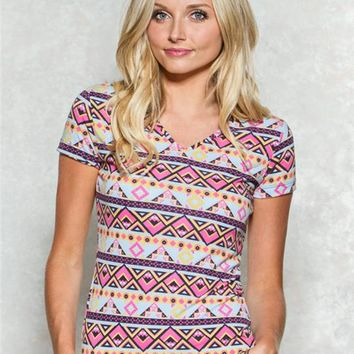 Pink Peached Aztec Basic