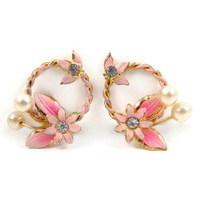 Pretty in Pink - 1950s Enamel Flower Earrings, Rhinestones & Faux Pearls, Open Wreath, Vintage Clip On Earrings, Made In Austria