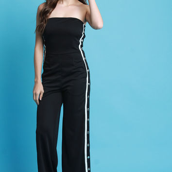 Snap Button Side Stripe Strapless Jumpsuit | UrbanOG