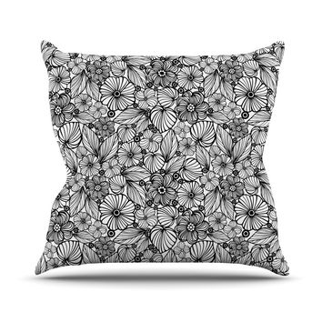 "Julia Grifol ""Candy Flowers In Black"" Gray White Throw Pillow"