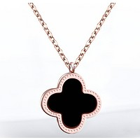 Van Cleef & Arpels Popular personality new simple leaf women necklace Rose gold