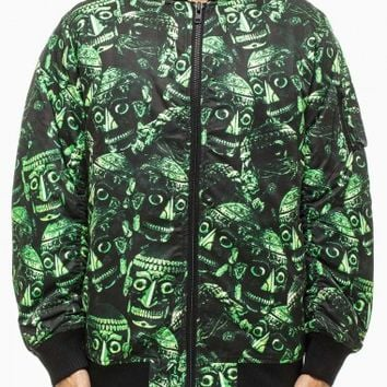 Skull printed bomber jacket from F/W2014-15 KTZ x Been Trill capsule collection in green