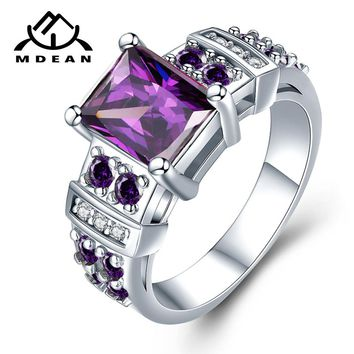 MDEAN White Gold Color Engagement Rings 13# for Women Wedding Purple AAA Zircon Fashion Jewelry Bague Bijoux Size 5-12